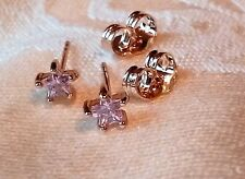 crystal pink star stud earrings new/wout tag 18k yellow gold filled