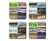 Personalized Coasters featuring the name BETH in photos of signs - Set of 4