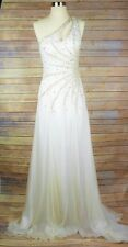 PRIMA DONNA Size 6 WHITE SEQUINED JEWELED FORMAL PAGEANT GOWN PROM DRESS LONG