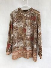 🦋 Womens Maggie T Silk & Cotton Long Sleeve Print Blouse Shirt Top Size 16