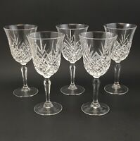 Cut Crystal Wine Glasses SET of 5 Elegant Lead Crystal Goblets MINT CONDITION