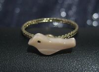 Great simple gold tone metal ring with small pale pink bird decoration size S