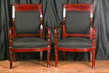 Pair Mahogany French Arm Chairs Charles X Throne