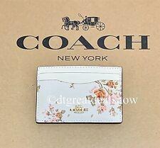 NWT Coach Women's Slim Card Case Holder Leather Rose Bouquet Print Chalk 91789