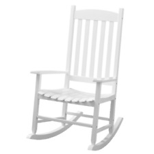 Outdoor Slat Rocking Furniture Mainstays Solid Acacia Wood White Sit Garden New