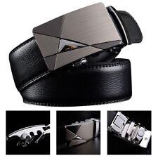 Fashion Mens Automatic Leather Buckle Belt Waist Strap Ratchet Jeans Waistband