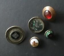 Antique Mixed Lot of 5 Buttons Paris, Painted, Brass, Celtic, Shell, Enamel
