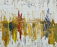 Abstract art gold red yellow blue reflection lake original acrylic painting