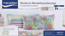 2 x Renforce Kissenbezüge 40x80 cm Kissen Bezug Kissenbezug Kissenhülle Blumen