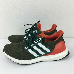 Adidas Ultra Boost Mens Green Orange Running Athletic Sneaker Shoes Size US 8