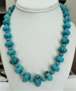 DTR JAY KING MINE FINDS STERLING SILVER PUMPKIN MELON CARVED TURQUOISE NECKLACE