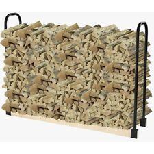 Firewood Rack Bracket Kit Adjustable Black Steel Fireplace Log Holder Storage
