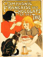 "Chocolates Tea & Cat 8.5x11"" Photo Print Theophile Alexandre Steinlen Ad Poster"