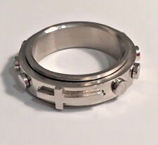 Rosary Spinning Ring w 10 Decades + Cross Silver Stainless Steel Sizes 6-8 #379