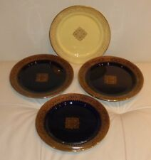 Sarreguemines Salad or Dessert Plates - Set of 4 - 1 Yellow and 3 Cobalt Blue