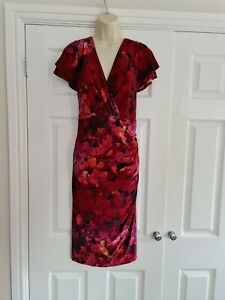 Ladies Red Floral Summer Short sleeved Dress Size 20 By Ralph Lauren
