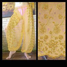 Harem Pants Belly Dance Gold w/ Gold Brocade Slit 7