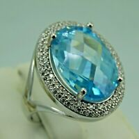 Turkish Handmade Jewelry 925 Sterling Silver Aquamarine Stone Women Ring Sz 8