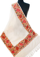 Ivory Wool Shawl Crewel Embroidered With Red Brown & Green Flowers Ari Stole