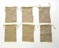 "6 Burlap Jute Sacks Bags 8"" X 12"" With Drawstrings Gunny Feed Tow Gift Bag"