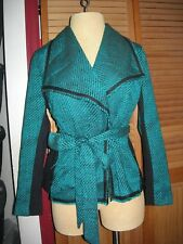 Lane Bryant Teal Blue & Black Raw Edge Tweed Belted Blazer Jacket 14/16 0X 1X