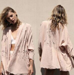 NWT Free People Cool Nights Crochet Lace Cardigan Kimono Conch Pink Size XS