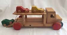 Wooden Car Carrier Transporter 3 Cars Rare Nice Quality Hard Wood