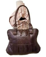 GENUINE LEATHER LATICO LARGE HOBO TOTE SHOPPER BAG PURSE BROWN 17X14X1