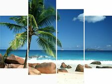 Large 4 Panel Set Wall Art Canvas Pictures Tropical Beach Cuba Holiday Prints