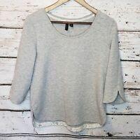 Cynthia Rowley Gray Sweatshirt 3/4 Sleeve Medium Lace Round Neck Casual Anthro
