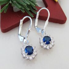 Brisuren Ohrringe 925 Sterling Silber Zirkonia Saphir Blau Weiß Mädchen o Damen