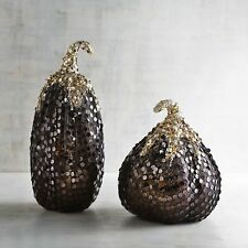 """NWT set of 2 Pier 1 IMPORTS SEQUIN GLAM GOURDS T=13.25"""" & S=9.50"""" NEW HALLOWEEN"""