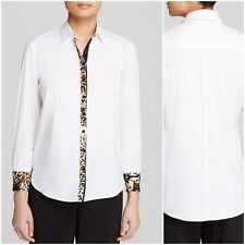 BASLER whitw shirt w animal print trim size 52