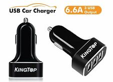 Intelligent 6.6a 33w Premium Aluminum 3 Port USB Car Charger for Iphone Samsung