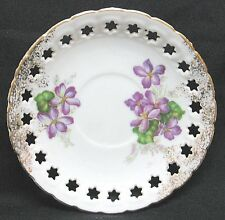 Enesco Imports Floral Design Saucer Purple Flowers  Cut Out Stars Gold Trim.