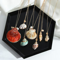 Shell Pendant Necklace Gold Color Chain Ocean Starfish  Alloy Cowrie Conch