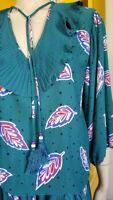 Vtg 80s Diane Freis Georgette Graphic Pleated Glam Hippie Prairie Boho Dress