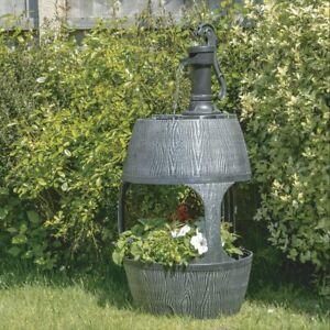 Water Fountain Antique Barrel Cascading Water Feature Garden Ornament Decor Pump