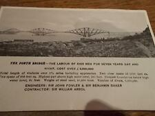 Vtg 1930 b/w Postcard Real Photo THE FORTH BRIDGE EDINBURGH SCOTLAND Facts Cost