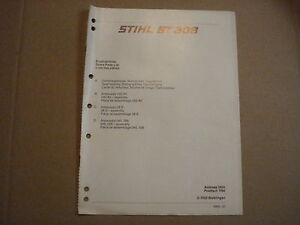 Genuine Stihl 11 Page Spare Parts List For Stihl BT 308 Auger