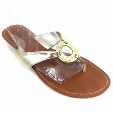 5352781094fd3e Guess Thong Flip Flops Sandals Slip Ons Gold Embellished Bling Metal Size  10M