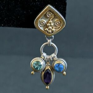 Vtg Estate Michou Sterling Amethyst Blue Topaz Dangle Earrings