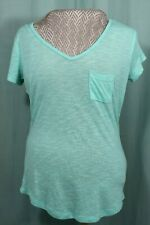 American Eagle Perfect V-Neck Short Sleeved Woman's Green Aqua