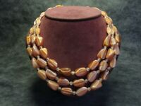 Fabulous Vintage Czech Bohemian 3-Row Satin Pink Caramel Glass Bead Necklace