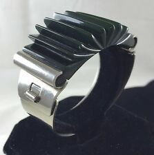 VINTAGE ribbed DARK green BAKELITE and Stainless Steel BRACELET TESTED
