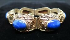 EARLY CHINESE GOLD OVER SILVER FILIGREE BLUE AGATE BRACELET
