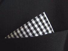 Algodón Pañuelo Bolsillo Cuadrado Pañuelo Cuadros Estilo Mod Negro y Blanco.
