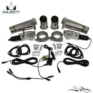 "2.25"" Dual Exhaust Catback Downpipe Cutout E-Cut Valve System Switch Control Kit"