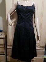 ELIE TAHARI Black Cotton Empire Waist Spaghetti Straps Fi&Flare Dress Size 10