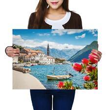 Ansicht von Cattaro Kotor Montenegro Hafen Unesco Welterbe Berg Holzstich E 4949
